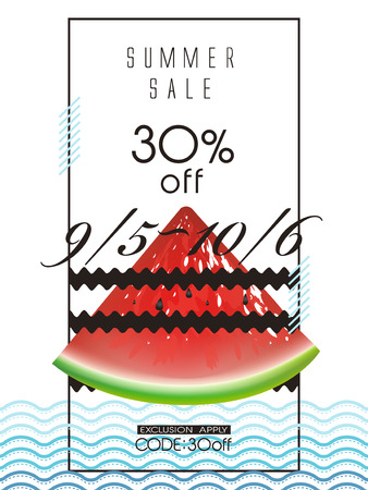 typesetting: summer sale poster template design with watermelon Illustration