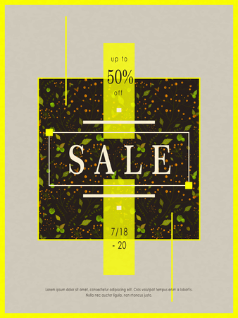flower layout: retro sale poster template design with floral elements