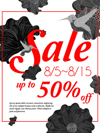 poster: sale poster template design with birds and floral Illustration