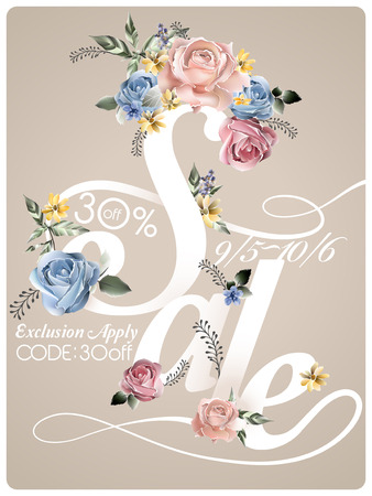 typesetting: romantic sale poster template design with roses Illustration