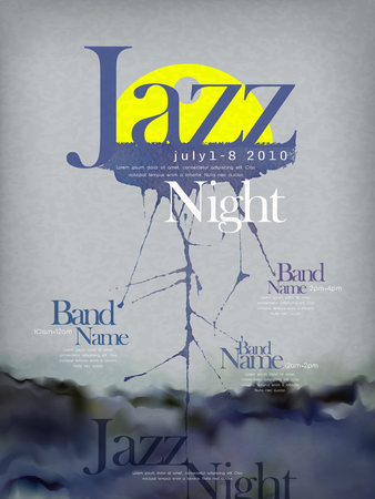 jazzy: jazz festival poster template design with ink stroke