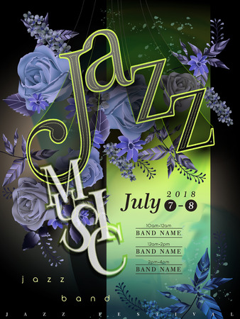 typesetting: jazz festival poster template design with floral elements