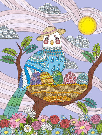 lady bird: adult coloring page - lady bird with her eggs