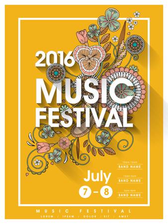 꽃 요소와 음악 축제 포스터 템플릿 디자인