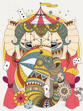 arte abstracto: Colorear adultos - elefante en el circo con los apoyos mágicos