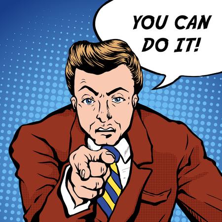 you can: lo puede hacer la ilustración del arte pop - hombre que señala el dedo