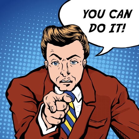 encourage: you can do it pop art illustration - man pointing finger