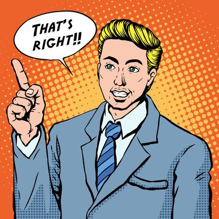 positive attitude: pop art illustration - businessman shows positive attitude