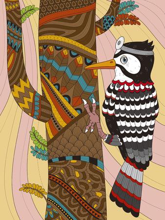 wears: adult coloring page - woodpecker wears head mirror