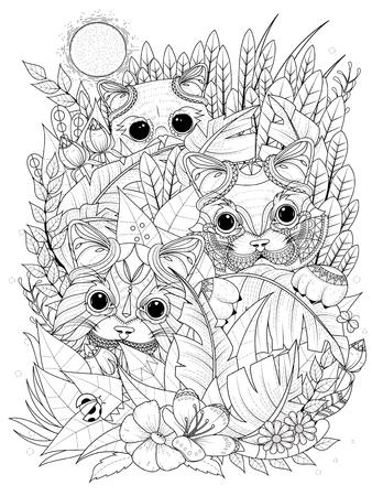 kitties: adult coloring page - wild kitties hiding behind plants