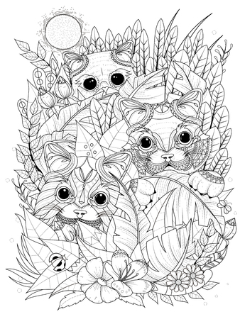 adult coloring page - wild kitties hiding behind plants