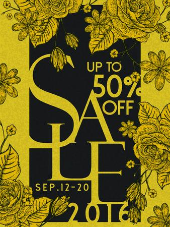 꽃 요소와 큰 판매 포스터 템플릿 디자인