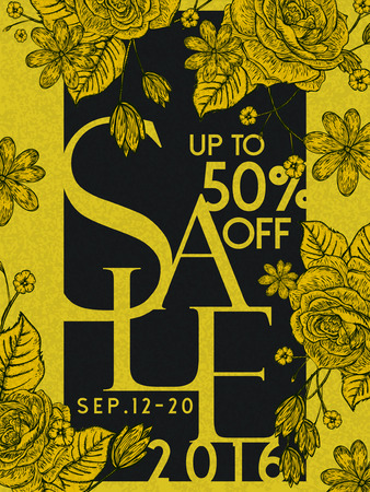 big sale poster template design with floral elements
