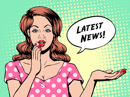 latest news: pop art illustration - woman says latest news