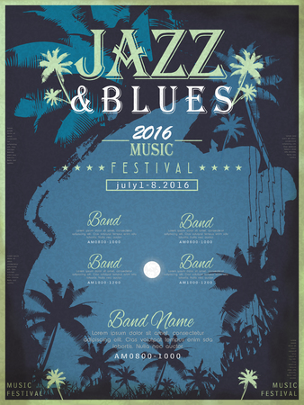 typesetting: jazz festival poster template design with palm tree background Illustration