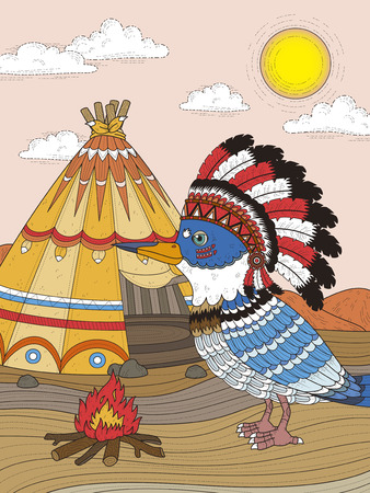 headwear: adult coloring page - Indian bird with its headwear Illustration