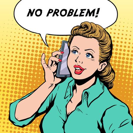 woman cellphone: No problem pop art illustration - woman talking on a cellphone