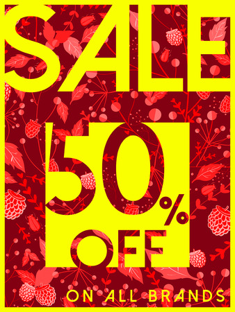 typesetting: big sale poster template design with floral elements