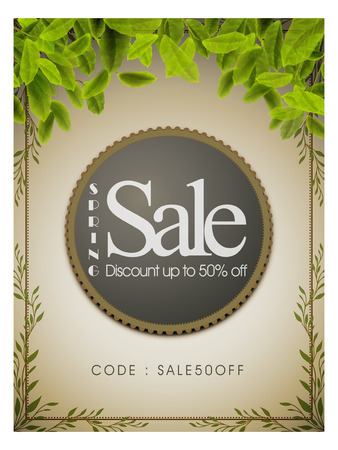 bargaining: big sale poster template design with leaves element