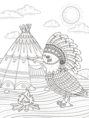 adult coloring page - Indian bird with its headwear