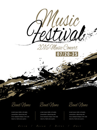 music festival poster template design with ink strokes Vector Illustration
