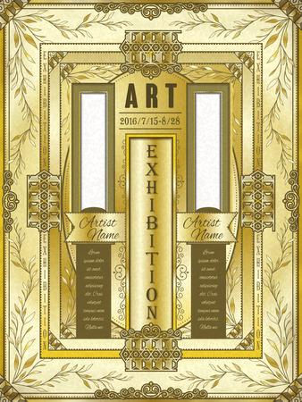 art museum: art exhibition poster template design in golden tone