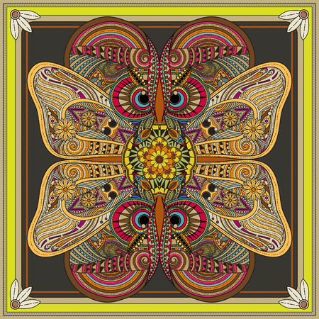 animal pattern: fantastic Mandala background design with wings and eyes elements Illustration