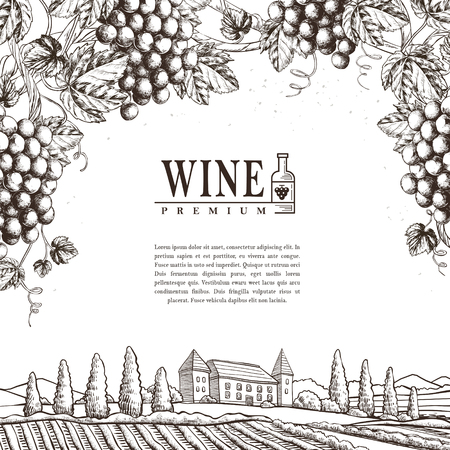 exquisite winery poster design in realistic hand drawn style 向量圖像