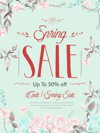 floral elements: graceful spring sale poster template design with floral elements