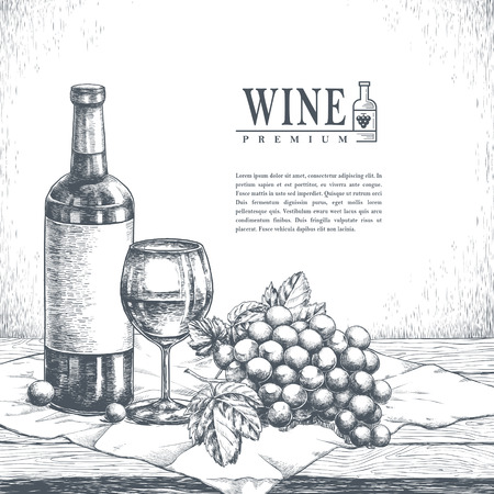 exquisite: exquisite winery poster design in realistic hand drawn style Illustration