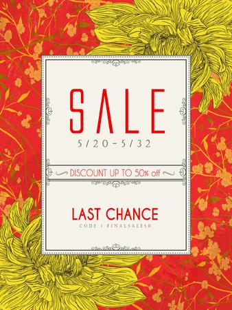 anniversary sale: elegant sale poster template design with chrysanthemums element Illustration