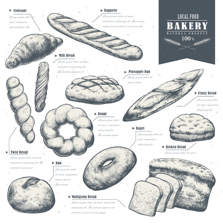 bake: exquisite hand drawn bake shop poster with delicious bread