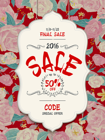 attractive sale poster template design with roses background