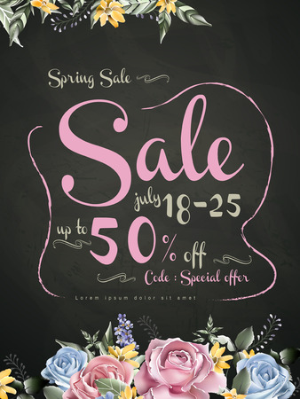 spring sale: lovely spring sale poster template design with watercolor florals on black background