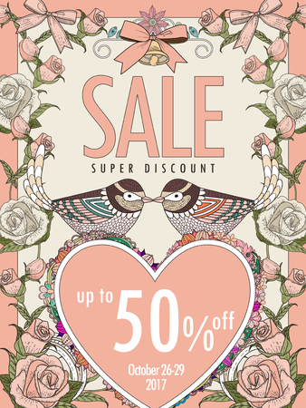 anniversary sale: romantic sale poster template design with bird couple and roses frame Illustration