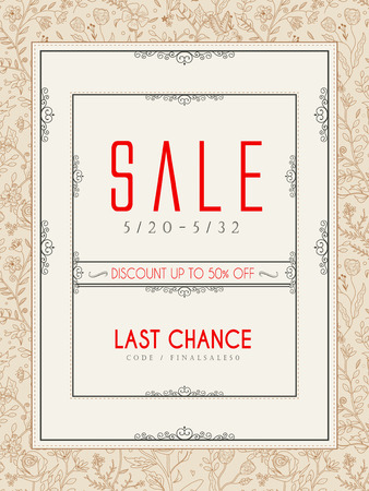 poster design: classic sale poster template design with floral pattern