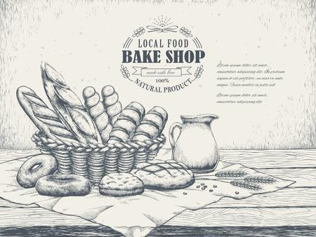 affiche de magasin de cuisson dessiné à la main exquise avec un délicieux pain