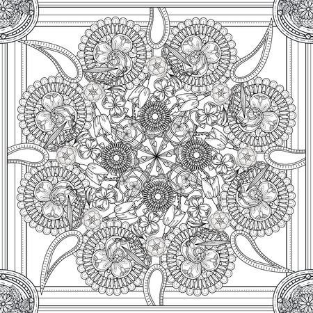 mysterious: mysterious Mandala background design with floral elements