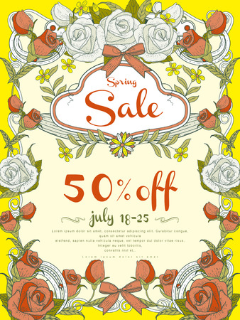 anniversary sale: attractive sale poster template design with decorative floral frame