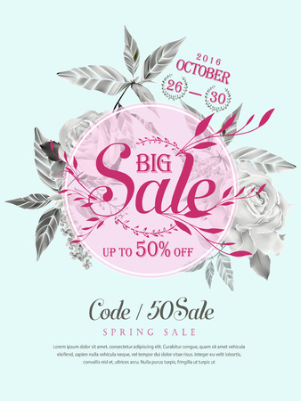 typesetting: graceful sale poster template design with floral elements