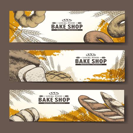 canasta de pan: dibujado a mano exquisitos de la tienda de pasteles banderas con un delicioso pan