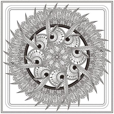 animal pattern: ornate Mandala background design with feathers and eyes elements Illustration