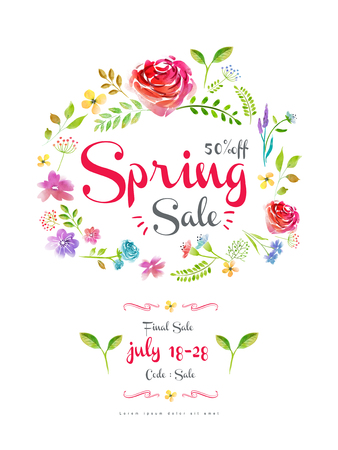 anniversary sale: graceful spring sale poster template design with watercolor floral wreath Illustration