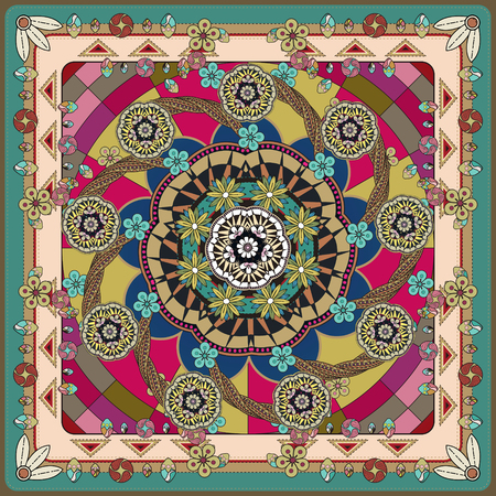 attractive Mandala background design with floral and geometric elements