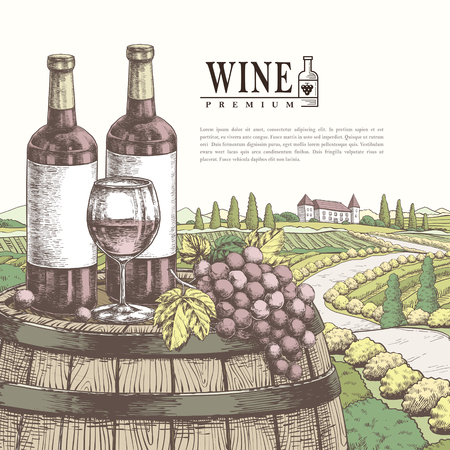 winery: exquisite winery poster design in realistic hand drawn style Illustration