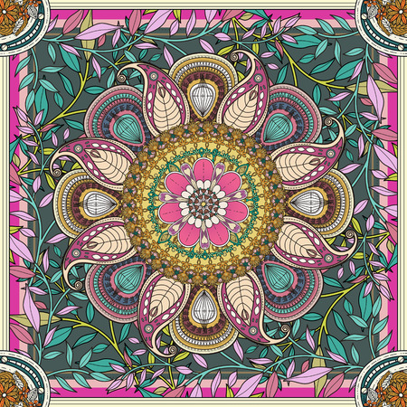 flores fucsia: exquisito diseño del fondo de la mandala con elementos florales