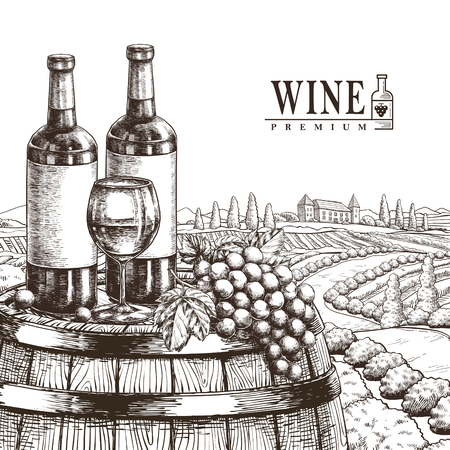 ferment: exquisite winery poster design in realistic hand drawn style Illustration