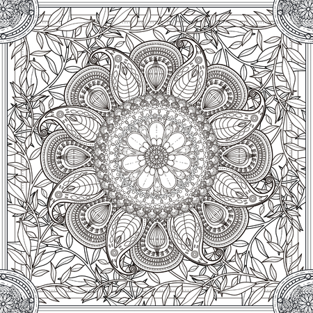 exquisite: exquisite Mandala background design with floral elements