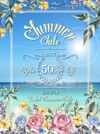 anniversary sale: summer sale poster template design with beach background and floral frame