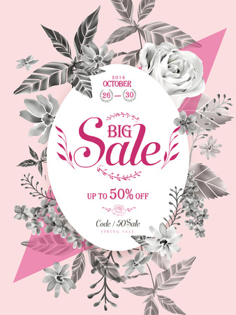 anniversary sale: graceful sale poster template design with floral elements